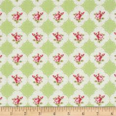 Tanya Whelan Rosey Cameo Rose Green from @fabricdotcom  Designed by Tanya Whelan for Free Spirit, this cotton print fabric is perfect for quilting, apparel and home decor accents. Colors include hot pink, light green and ivory.