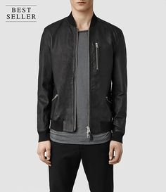 Mens Utility Leather Bomber Jacket (Black) - product_image_alt_text_1