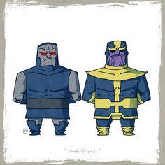 Darkseid and Thanos Marvel vs. DC: Little Friends by Darren Rawlings Darkseid Dc, Thanos Marvel, Crossover, Dc Comics Vs Marvel, Batman, Geek Art, The Villain, Marvel Characters, Graffiti Characters