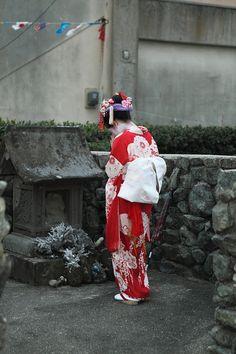 Geisha at Shinto Shrine, Japan