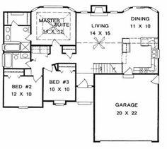 Plan # 1242 - Ranch | First floor plan