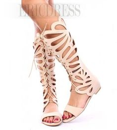 Sexy Butterfly Cut-Outs Knee High Sandals  5
