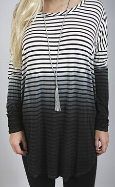 our favorite combination in one long sleeve tee- ombre + stripes!
