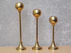 I Like Mike's Mid Century Modern - TRIO TALL MID CENTURY DESCENDING BRASS BALL CANDLE STICK HOLDERS
