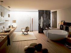Salle de bains contemporaine - La salle de bains contemporaine par excellence: intemporelle, fonctionelle et matériaux nobles - Aquaconfort - www.aquaconfort.be