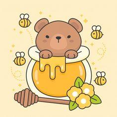 Vector character of cute bear in a honey jar - Stock Vector , bear Cute Bear Drawings, Cute Animal Drawings Kawaii, Cute Little Drawings, Cute Cartoon Drawings, Easy Drawings, Kawaii Doodles, Cute Doodles, Cute Kawaii Animals, Cute Cartoon Animals