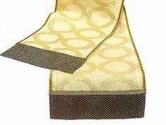 Geometric gold table runner 14x84  Luxury burlap custom by SABDECO