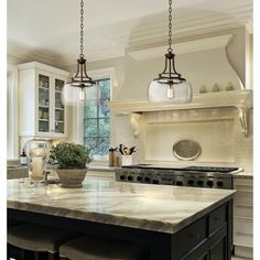 "Charleston 13 1/2"" Wide Clear Glass Pendant, Love the off white subway tile used for the back splash"