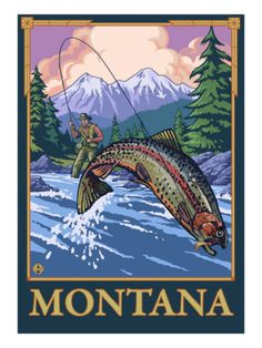 fishing scenes | Fly Fishing Scene, Montana Posters at AllPosters.com