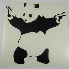 Banksy Shooting Panda   Die Cut Vinyl Sticker Decal   Sticky Addiction