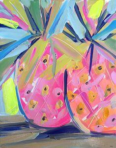 Pink Tropical Bedroom: Pineapple painting pineapples canvas art wall by M. Pineapple Painting, Fruit Painting, Diy Painting, Diy Canvas, Canvas Art, Art Jaune, Art Tropical, Funky Fruit, Photos Encadrées