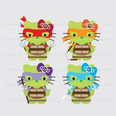 Printable Clip Art Digital PDF PNG File - Superhero Turtle Cat