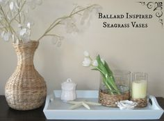 Ballard Designs Inspired Sea Grass Candle Holders/Vase. Make your own for less than $5 bucks! So pretty!