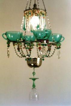 Vintage Wine Glass Lighting: The 'Nebu' Chandelier Made of 250 Repurposed Goblets Glass Chandelier, Chandelier Lighting, Chandelier Ideas, Lighting Store, Funky Lighting, Kitchen Chandelier, Pendant Lamp, Lighting Ideas, Gouts Et Couleurs