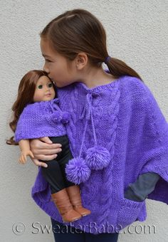 PDF Knitting Pattern for Stolen Hearts Cabled Poncho from SweaterBabe.com for Girls and American Girl Dolls