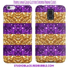 PURPLE & GOLD GLITTER STRIPED PHONE CASES Printed in the USA Long life super-bright colors embedded directly into the case Extremely durable shatterproof casing Allows access to all device features Charges while in case Special keyhole ring keeps photos completely unobstructed Fits all mobile providers worldwide including AT&T Verizon & Sprint 3 Style Variations: Snap Rough and Skin iPhone Case styles: iPhone 6s/6s Plus Snap or Tough iPhone 6/6 Plus Snap or Tough 5/5s Snap or Tough or Skin…