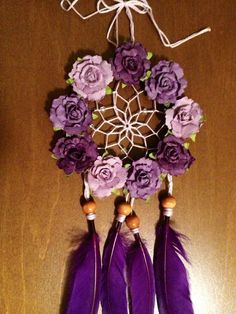 Floral Purple Rose Dream Catcher by DreamDen