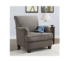 Home Club Chair Gray Accent Stuffed Cushions Upholstery Living Room Furniture #BetterHomes #Classic