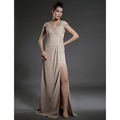 TS+Couture®+Formal+Evening+/+Military+Ball+Dress+-+Furcal+Plus+Size+/+Petite+Sheath+/+Column+Square+Floor-length+Chiffon+withRuching+/+Split+Front+–+CAD+$+125.09