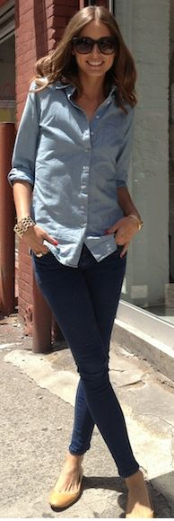 one of my favorite outfits ever! always a win!  Jeans - Topshop Shirt - Tommy Hilfiger similar style shirt by the same designer Tommy Hilfiger Shirt, Long Sleeve Button Down Chambray similar style jeans by the same designer Tall MOTO Leigh Supersoft Skinny Jeans MOTO Baxter Jeans MOTO High Waist Kristen Jean