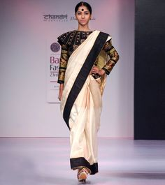 Black, Gold, Off White Pure Dupion #Silk #Saree With #Blouse