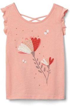 Oriental Pearl Shirt Cartoon Little Baby Girls Flounced T Shirts Cotton Tops for 2-6T Baby Girls
