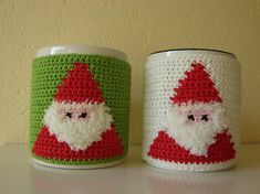 PURCHASED pattern - CROCHET - Santa mug cozy ~ cozy will fit standard mug with diameter of and approx. high ~ she used fluffy yarn for beard which I think makes him even cuter and realistic Crochet Cup Cozy, Crochet Santa, Holiday Crochet, Christmas Cup, Christmas Crafts, Merry Christmas, Father Christmas, Mug Cozy, Coffee Cozy