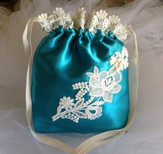 WEDDING BRIDALTurquoise Drawstring Bag Ivory ♥ by globodesigns, $32.99