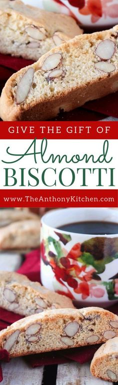 Christmas Cookie Ideas | How to make the perfect almond biscotti cookie, featuring a made-from-scratch dough with whole almonds and almond extract. #Almond Biscotti #BiscottiRecipes #CookieRecipes #Biscotti #Cookies #Homemadechristmasgiftidea