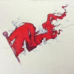 #flag #tattered #torn #ripped #shreds #banner #pennant #artist  #art  #illustration  #illustrator  #red #pen #ballpoint #ballpointpen #markers #marker #prismacolor #prisma #fly #drawing #sketch #holes #pole #ink