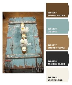 Like this shade of blue with brown...Paint colors from Chip It! by Sherwin-Williams  Perfect!!