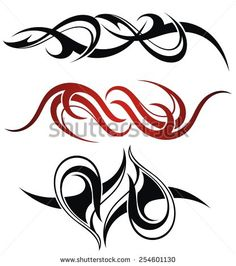 Set of 3 different vector tribal tattoo - stock vector