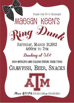 Texas A Ring Dunk Invitation Aggie Ring Day, Graduation Parties, Party Rings, Graduation Invitations, Texas A&m, College Life, Cricut Ideas, Celebration, Graduation Day