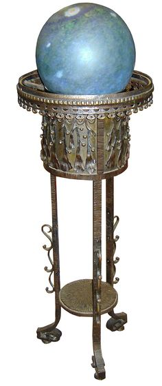 Art Deco Floor Lamp, Edgar Brandt and Daum Freres, France, hand-wrought iron and bronze.  1920