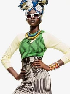 Mary Maguet shot by Giulio Rustichelli for Flair Magazine March 2014 fashion editorial #headwrap #print