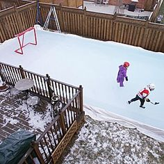 Top NHL Ice Man Dan Craig shows us six steps for building the perfect skating rink at home. Outdoor Hockey Rink, Backyard Hockey Rink, Backyard Ice Rink, Backyard Sports, Ice Hockey Rink, Backyard Bar, Ponds Backyard, Backyard Retreat, Ice Skating Party