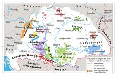 Map of Hungarian Kingdom, showing areas inhabited by ethnic Germans in the 19th century