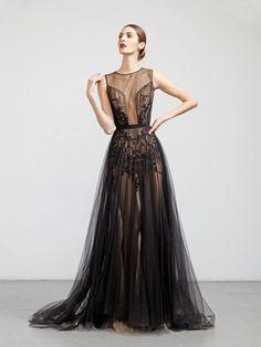 Gorgeous translucid Abed Mahfouz black gown
