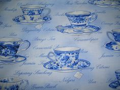 fabric teacups...would make great placemats or serviettes.