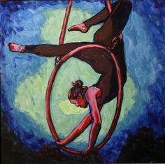 Aerial Artist 3  Original Oil Painting on Canvas by durellstudio, Aerial Hoop/Lyra Circus/Cirque Inspired Left Handed Artwork