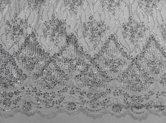 """WHITE MESH W/SILVER EMBROIDERY BEADS & SEQUINS BRIDAL LACE FABRIC 52"""" BY THE YD 