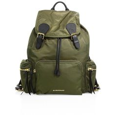 Burberry Classic Rucksack ($1,410) ❤ liked on Polyvore featuring bags, backpacks, apparel & accessories, canvas green, backpacks bags, strap backpack, rucksack bag, burberry and drawstring bag