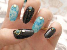 Nail fake nail turquoise marble black oval nail gel by Aya1gou