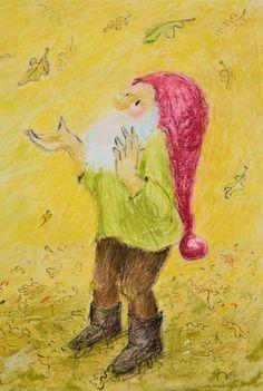 Doe in het park of bos een kabouter na: Voel eens aan het kriebelende gras, de ruwe stam van een boom, het zachte mos. Voel de aarde onder je (blote) voeten. Dans en spring door afgevallen blad, gooi het omhoog. Meer informatie inde lesbrief van Kabouter Thijm   Poppentheater Koekla. Tekening uit het prentenboek van Admar Kwant. Painting, Art, India, Art Background, Painting Art, Kunst, Paintings, Performing Arts, Painted Canvas