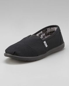 Black Classic Canvas Shoe, Youth by TOMS at Neiman Marcus.