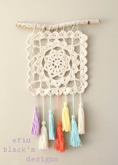Dreaming of Granny wall hanging, by Erin Black #crochet #doily #tassel