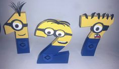 Wooden Minion NUMBERS, Minion Personalize, Minion Party, Minion Room, Minion Decor, Minion DeCOR by VannessasCreations on Etsy