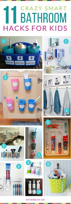 Genius Hacks for an Organized Bathroom Hacks, Tips and Tricks for Organized, Stress-Free Mornings with kids Organisation Hacks, Organizing Hacks, Diy Organization, Clothing Organization, Toothbrush Organization, Stationary Organization, Diy Bathroom, Bathroom Hacks, Bathroom Decor For Kids