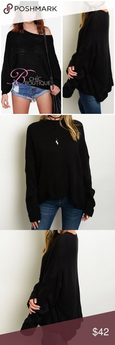 "✳️SALE✳️Boyfriend Pullover Sweater Long sleeve knitted boyfriend fit pull over sweater. Made of 100% acrylic. One Size fits most.  Measurements: bust 52""/ length 24"".   Available in black/ wine and Kaki colors. This listing is for BLACK. Keywords: waffle Knit Loose Bchic Sweaters"