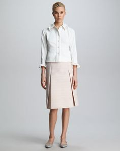 Striped Pleated A-Line Skirt by Marc Jacobs at Bergdorf Goodman.